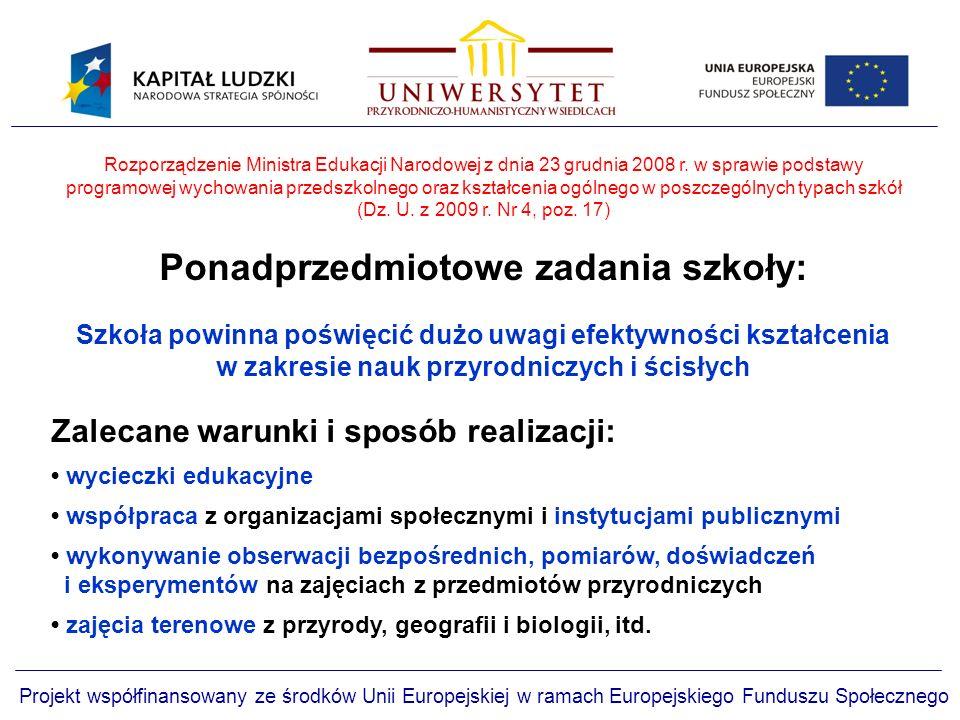 Projekt współfinansowany ze środków Unii Europejskiej w ramach Europejskiego Funduszu Społecznego Rozporządzenie Ministra Edukacji Narodowej z dnia 23 grudnia 2008 r.