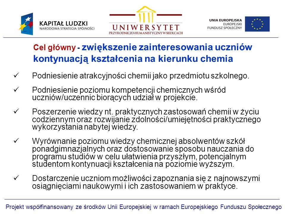 Cel główny - zwiększenie zainteresowania uczniów kontynuacją kształcenia na kierunku chemia Projekt współfinansowany ze środków Unii Europejskiej w ramach Europejskiego Funduszu Społecznego Podniesienie atrakcyjności chemii jako przedmiotu szkolnego.