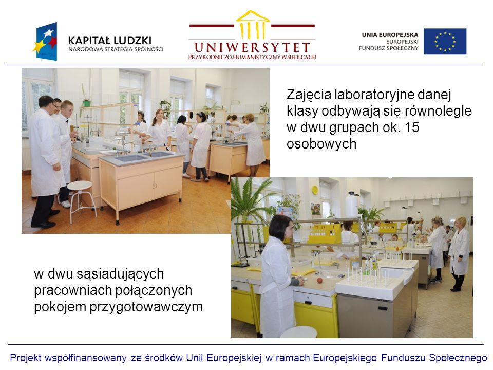 Projekt współfinansowany ze środków Unii Europejskiej w ramach Europejskiego Funduszu Społecznego w dwu sąsiadujących pracowniach połączonych pokojem przygotowawczym Zajęcia laboratoryjne danej klasy odbywają się równolegle w dwu grupach ok.