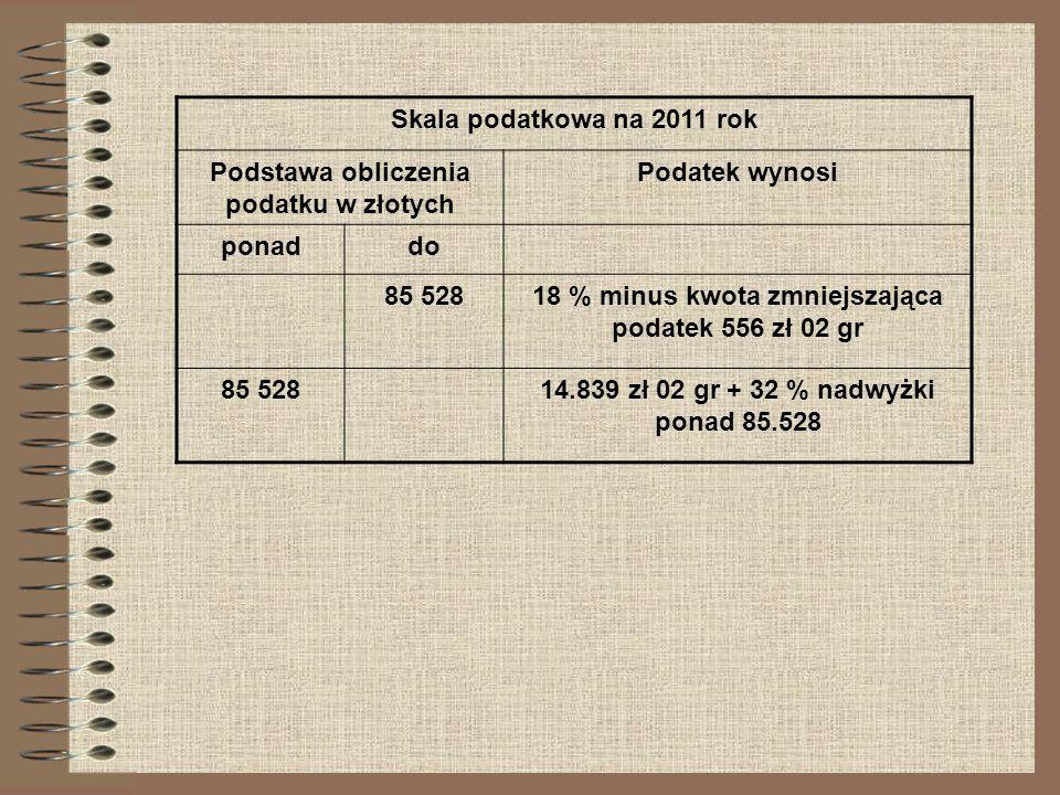 Skala podatkowa na 2011 rok Podstawa obliczenia podatku w złotych Podatek wynosi ponaddo 85 52818 % minus kwota zmniejszająca podatek 556 zł 02 gr 85
