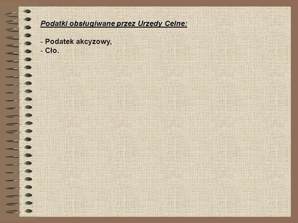 Podatki obsługiwane przez Urzędy Celne: - Podatek akcyzowy, - Cło.