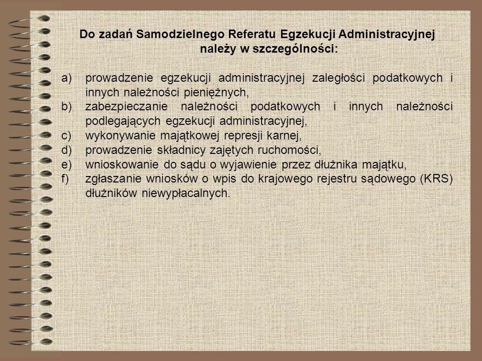 Do zadań Samodzielnego Referatu Egzekucji Administracyjnej należy w szczególności: a)prowadzenie egzekucji administracyjnej zaległości podatkowych i i