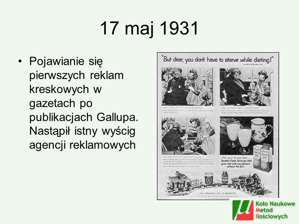 17 maj 1931 Pojawianie się pierwszych reklam kreskowych w gazetach po publikacjach Gallupa. Nastąpił istny wyścig agencji reklamowych