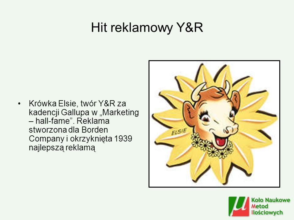 Hit reklamowy Y&R Krówka Elsie, twór Y&R za kadencji Gallupa w Marketing – hall-fame. Reklama stworzona dla Borden Company i okrzyknięta 1939 najlepsz