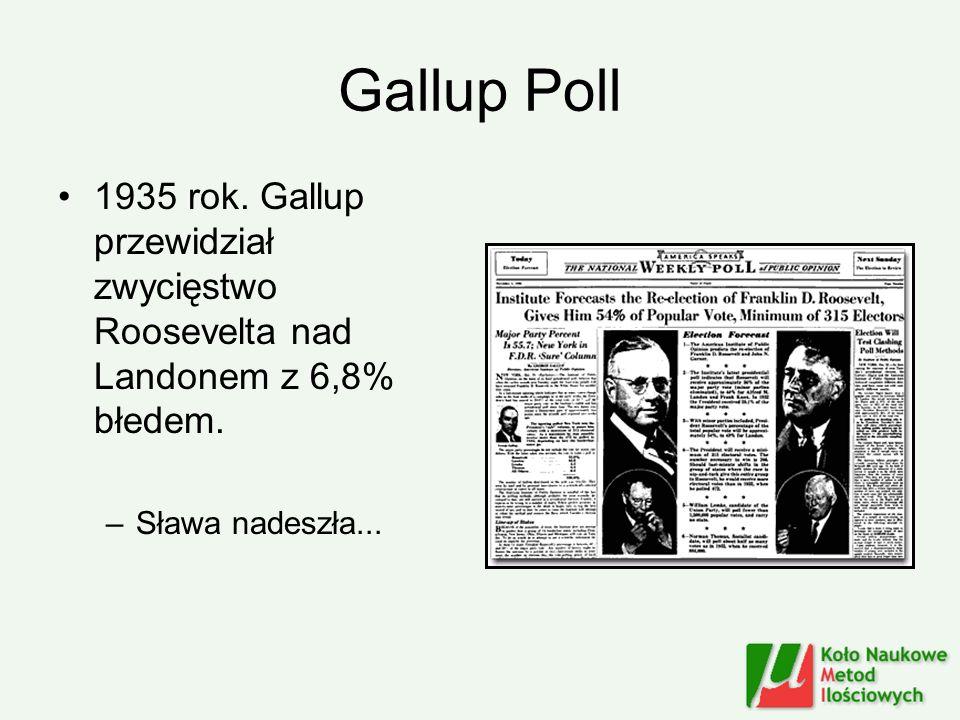Gallup Poll 1935 rok. Gallup przewidział zwycięstwo Roosevelta nad Landonem z 6,8% błedem. –Sława nadeszła...