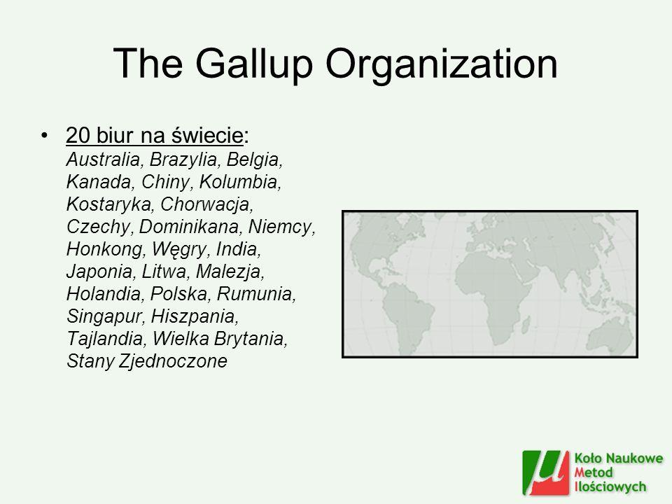 The Gallup Organization 20 biur na świecie: Australia, Brazylia, Belgia, Kanada, Chiny, Kolumbia, Kostaryka, Chorwacja, Czechy, Dominikana, Niemcy, Ho