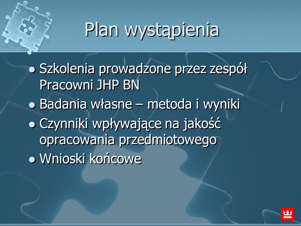 Plan wystąpienia Szkolenia prowadzone przez zespół Pracowni JHP BN Badania własne – metoda i wyniki Czynniki wpływające na jakość opracowania przedmio