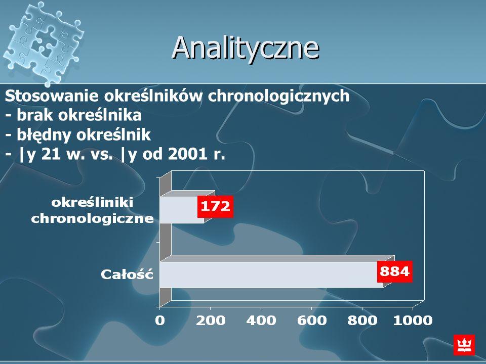 Analityczne Stosowanie określników chronologicznych - brak określnika - błędny określnik -  y 21 w. vs.  y od 2001 r.