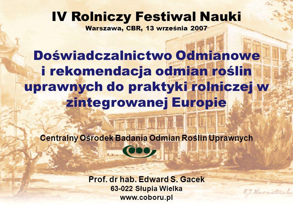 IV Rolniczy Festiwal Nauki Warszawa, CBR, 13 września 2007 Doświadczalnictwo Odmianowe i rekomendacja odmian roślin uprawnych do praktyki rolniczej w
