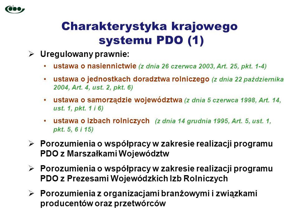 Charakterystyka krajowego systemu PDO (1) Uregulowany prawnie: ustawa o nasiennictwie (z dnia 26 czerwca 2003, Art. 25, pkt. 1-4) ustawa o jednostkach