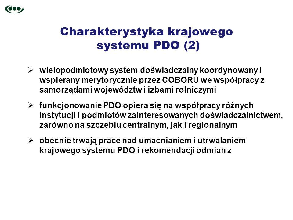 Charakterystyka krajowego systemu PDO (2) wielopodmiotowy system doświadczalny koordynowany i wspierany merytorycznie przez COBORU we współpracy z sam