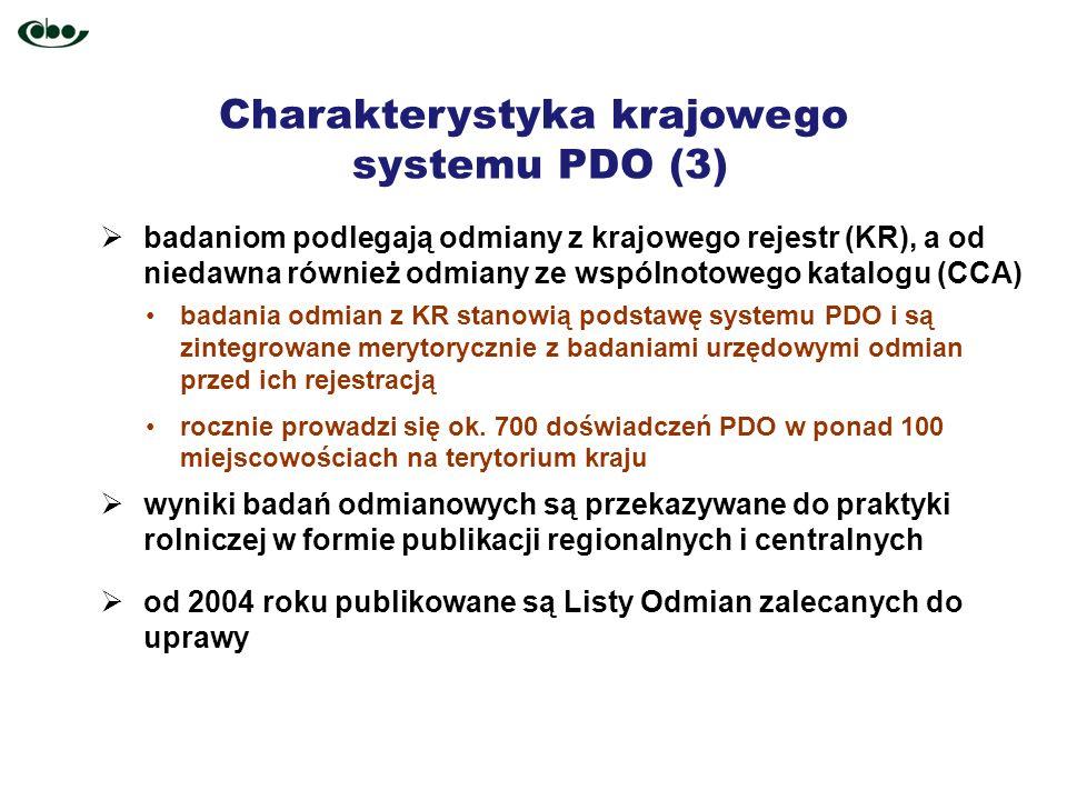 Charakterystyka krajowego systemu PDO (3) badaniom podlegają odmiany z krajowego rejestr (KR), a od niedawna również odmiany ze wspólnotowego katalogu