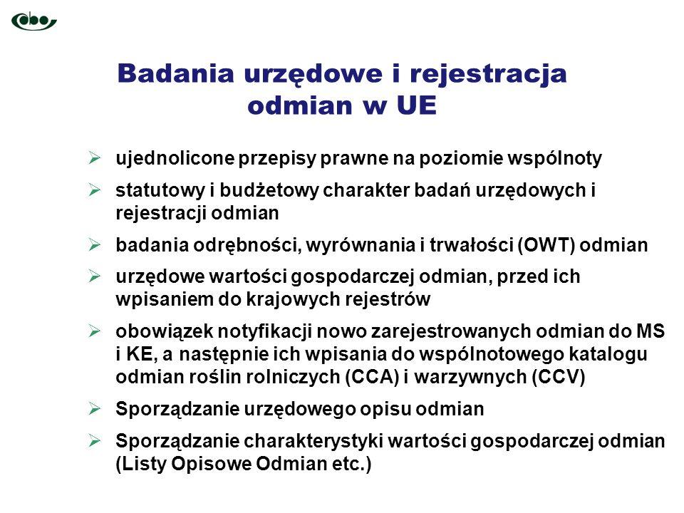 Badania urzędowe i rejestracja odmian w UE ujednolicone przepisy prawne na poziomie wspólnoty statutowy i budżetowy charakter badań urzędowych i rejes