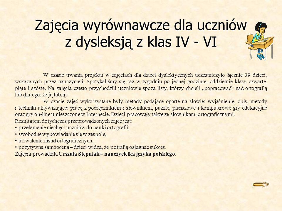 Zajęcia wyrównawcze dla uczniów z dysleksją z klas IV - VI W czasie trwania projektu w zajęciach dla dzieci dyslektycznych uczestniczyło łącznie 39 dz