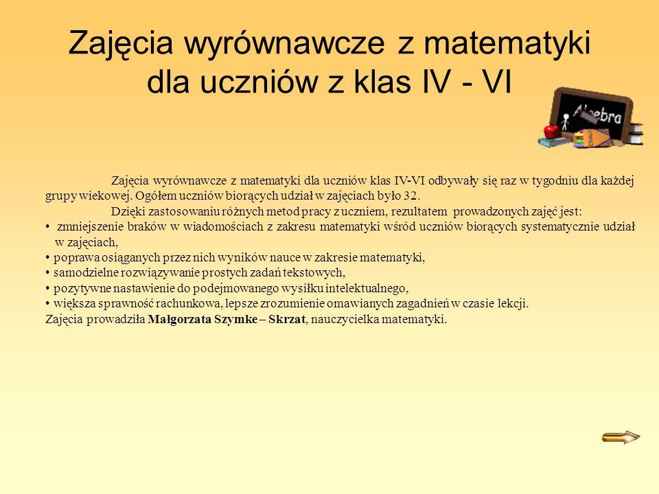 Zajęcia wyrównawcze z matematyki dla uczniów z klas IV - VI Zajęcia wyrównawcze z matematyki dla uczniów klas IV-VI odbywały się raz w tygodniu dla każdej grupy wiekowej.