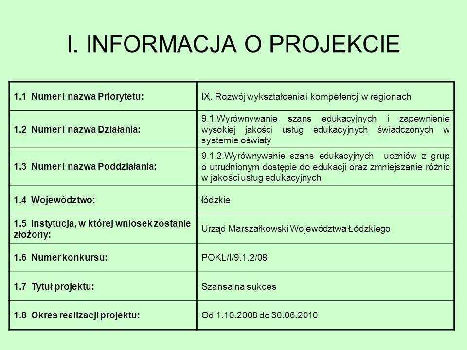 I. INFORMACJA O PROJEKCIE 1.1 Numer i nazwa Priorytetu:IX. Rozwój wykształcenia i kompetencji w regionach 1.2 Numer i nazwa Działania: 9.1.Wyrównywani