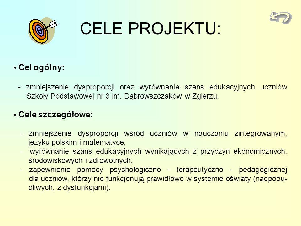 CELE PROJEKTU: Cel ogólny: - zmniejszenie dysproporcji oraz wyrównanie szans edukacyjnych uczniów Szkoły Podstawowej nr 3 im. Dąbrowszczaków w Zgierzu