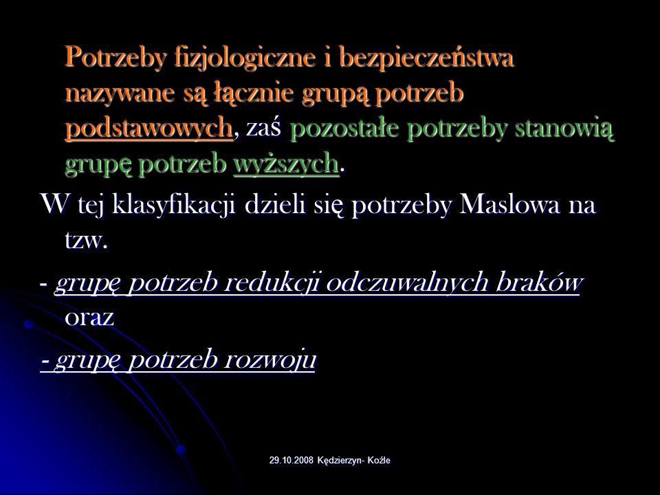 29.10.2008 Kędzierzyn- Koźle 1. Potrzeby fizjologiczne (pragnienie, głód, posiłek). 2. Potrzeby bezpieczeństwa ( pewność, stałość, potrzeba porządku,