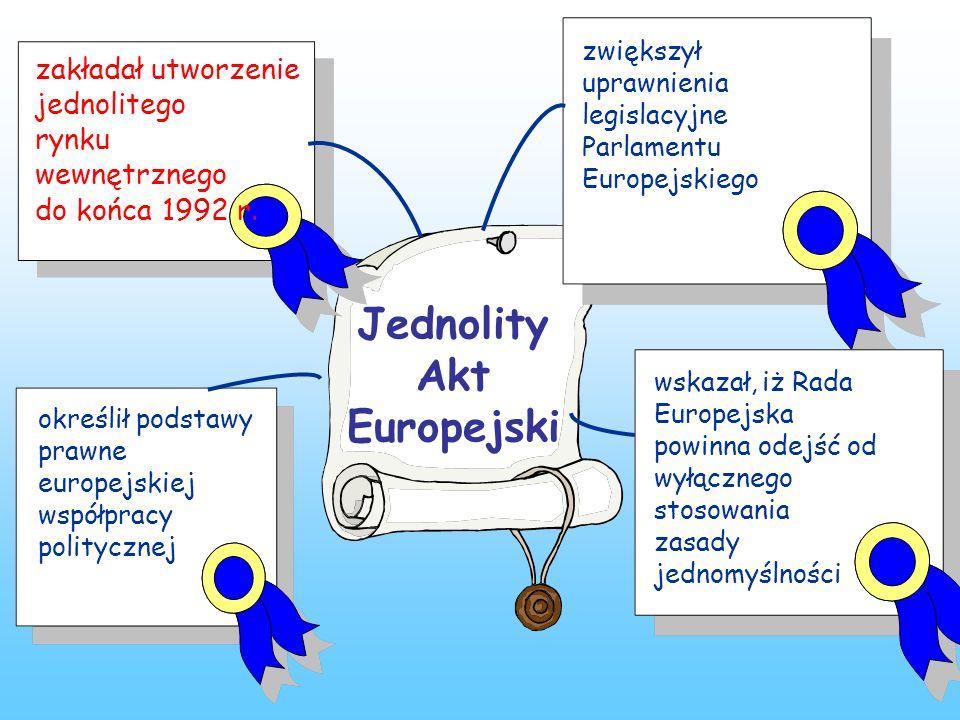 Jednolity Akt Europejski określił podstawy prawne europejskiej współpracy politycznej zakładał utworzenie jednolitego rynku wewnętrznego do końca 1992