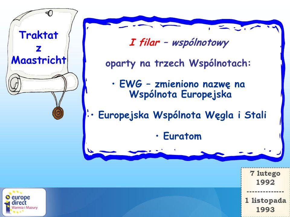 Traktat z Maastricht I filar – wspólnotowy oparty na trzech Wspólnotach: EWG – zmieniono nazwę na Wspólnota Europejska Europejska Wspólnota Węgla i St
