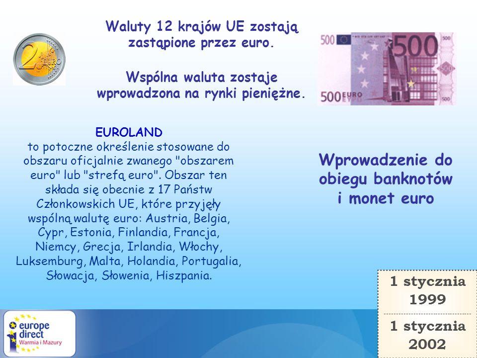 1 stycznia 1999 ------------------------------------ 1 stycznia 2002 Wprowadzenie do obiegu banknotów i monet euro EUROLAND to potoczne określenie sto