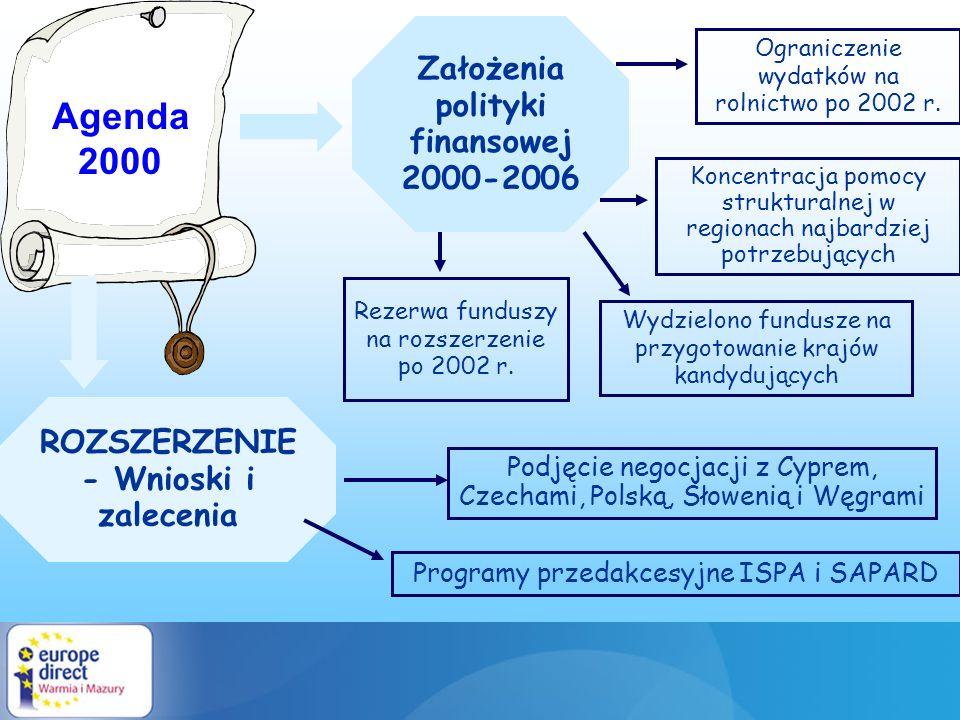 Agenda 2000 ROZSZERZENIE - Wnioski i zalecenia Ograniczenie wydatków na rolnictwo po 2002 r. Koncentracja pomocy strukturalnej w regionach najbardziej