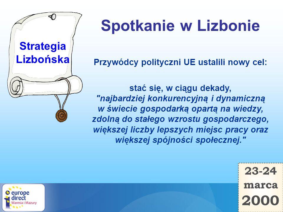 23-24 marca 2000 Spotkanie w Lizbonie Przywódcy polityczni UE ustalili nowy cel: stać się, w ciągu dekady,