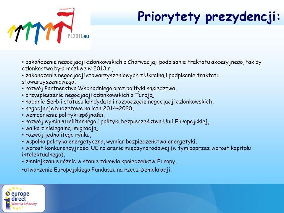 zakończenie negocjacji członkowskich z Chorwacją i podpisanie traktatu akcesyjnego, tak by członkostwo było możliwe w 2013 r., zakończenie negocjacji