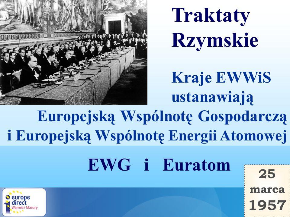 1 stycznia 1958 Traktaty Rzymskie wchodzą w życie. Siedzibą Komisji EWG i Euratomu zostaje Bruksela