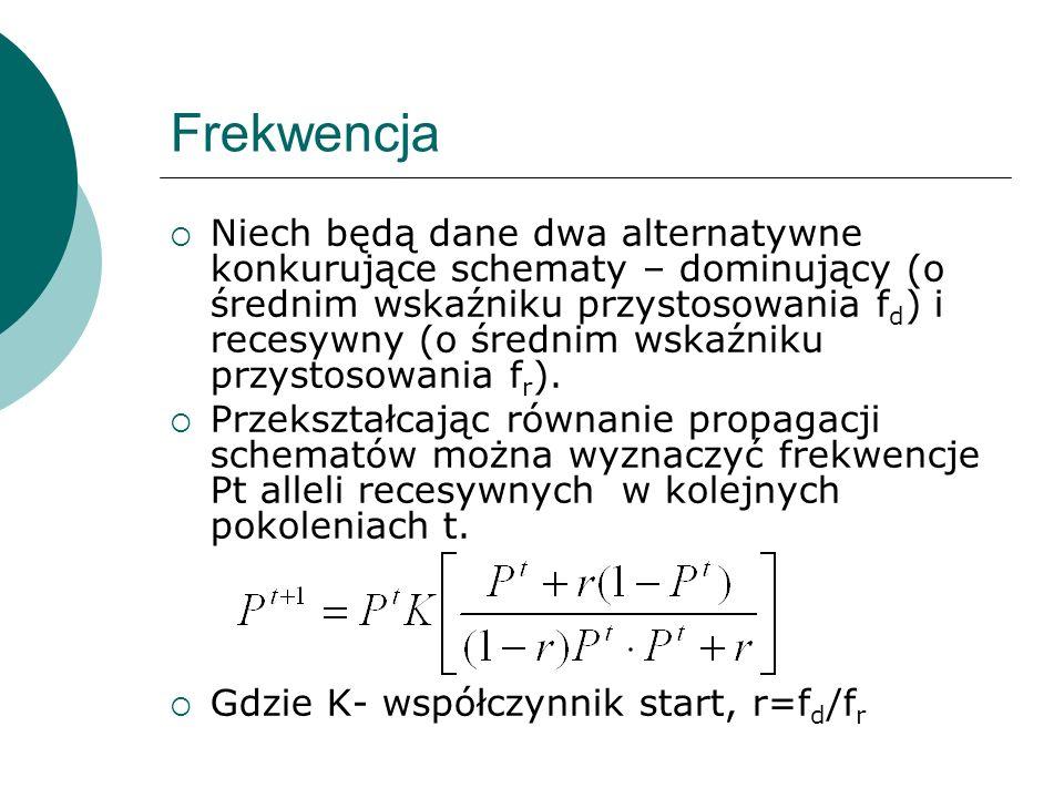 Frekwencja Niech będą dane dwa alternatywne konkurujące schematy – dominujący (o średnim wskaźniku przystosowania f d ) i recesywny (o średnim wskaźni