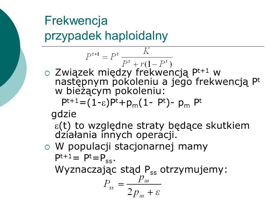 Frekwencja przypadek haploidalny Związek między frekwencją P t+1 w następnym pokoleniu a jego frekwencją P t w bieżącym pokoleniu: P t+1 =(1-)P t +p m