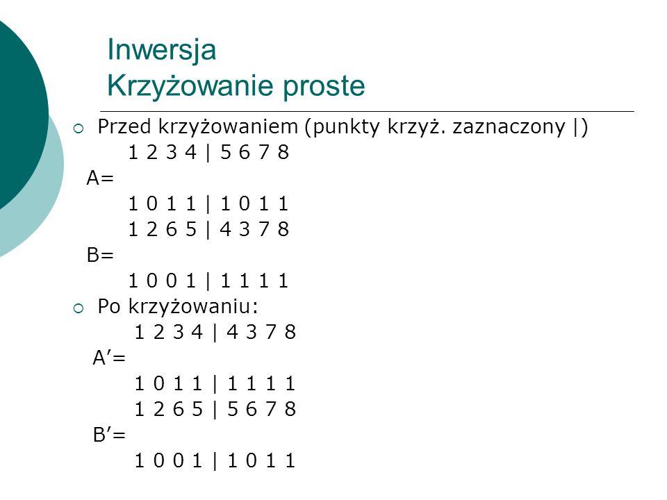 Inwersja Krzyżowanie proste Przed krzyżowaniem (punkty krzyż. zaznaczony |) 1 2 3 4 | 5 6 7 8 A= 1 0 1 1 | 1 0 1 1 1 2 6 5 | 4 3 7 8 B= 1 0 0 1 | 1 1