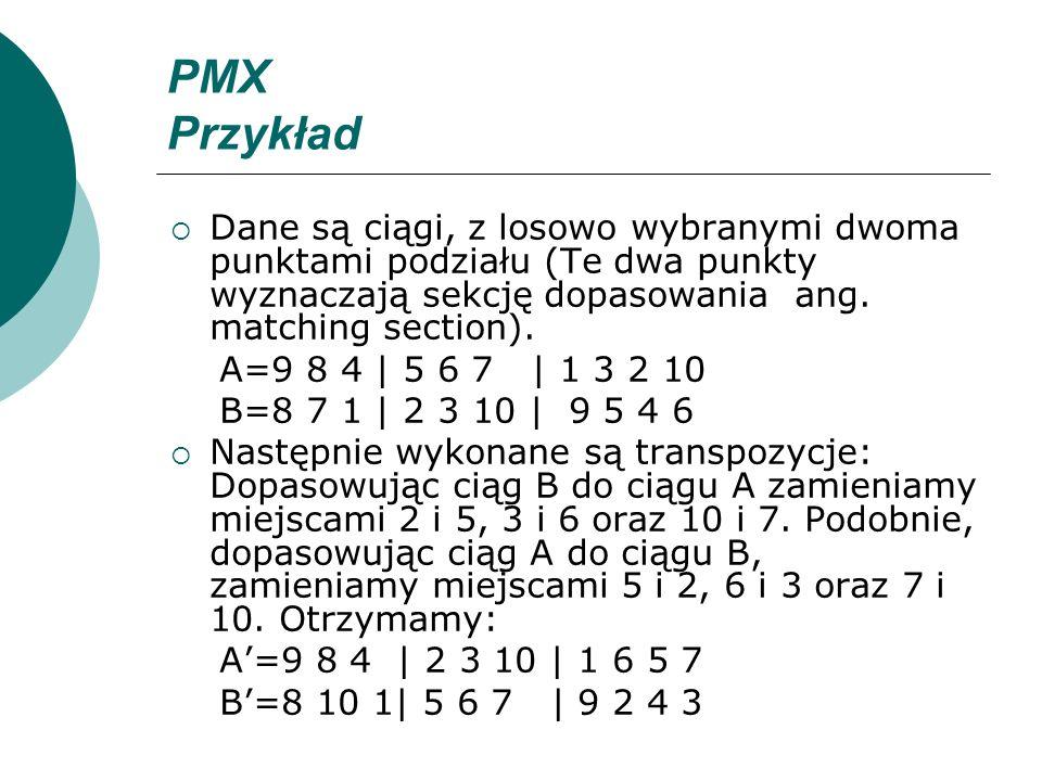 PMX Przykład Dane są ciągi, z losowo wybranymi dwoma punktami podziału (Te dwa punkty wyznaczają sekcję dopasowania ang. matching section). A=9 8 4 |