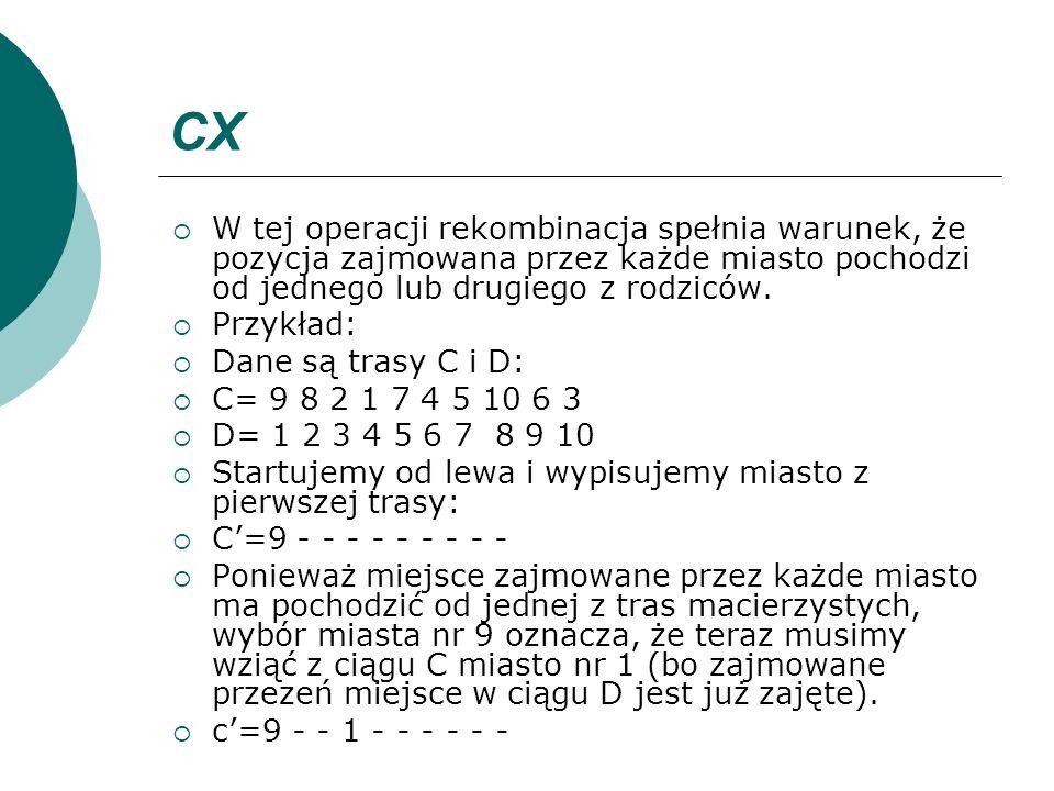 CX W tej operacji rekombinacja spełnia warunek, że pozycja zajmowana przez każde miasto pochodzi od jednego lub drugiego z rodziców. Przykład: Dane są
