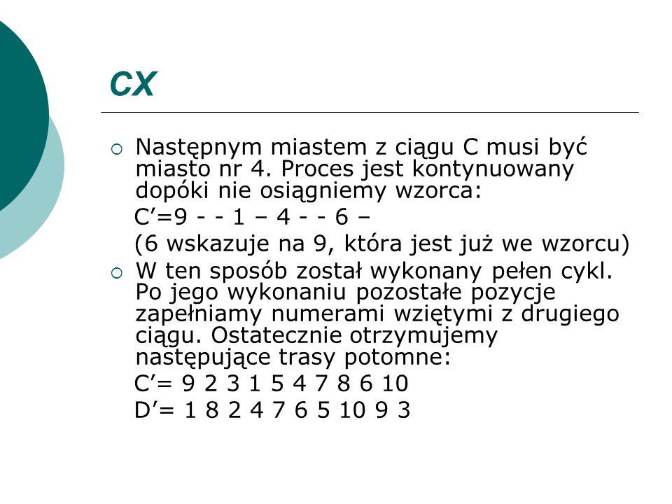 CX Następnym miastem z ciągu C musi być miasto nr 4. Proces jest kontynuowany dopóki nie osiągniemy wzorca: C=9 - - 1 – 4 - - 6 – (6 wskazuje na 9, kt