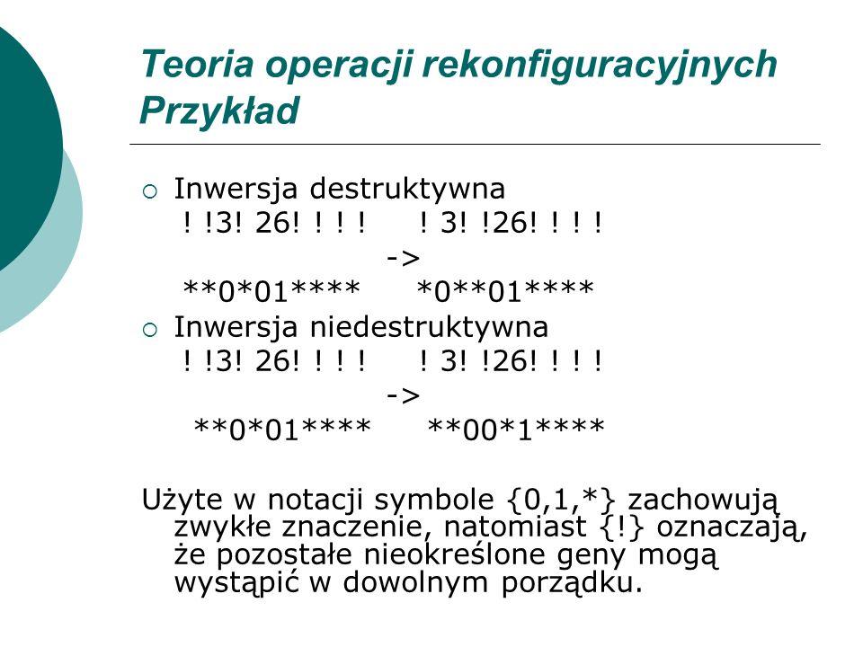 Teoria operacji rekonfiguracyjnych Przykład Inwersja destruktywna ! !3! 26! ! ! ! ! 3! !26! ! ! ! -> **0*01**** *0**01**** Inwersja niedestruktywna !