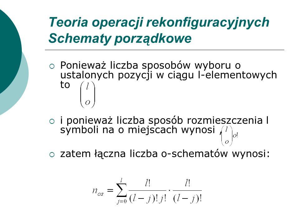 Teoria operacji rekonfiguracyjnych Schematy porządkowe Ponieważ liczba sposobów wyboru o ustalonych pozycji w ciągu l-elementowych to i ponieważ liczb