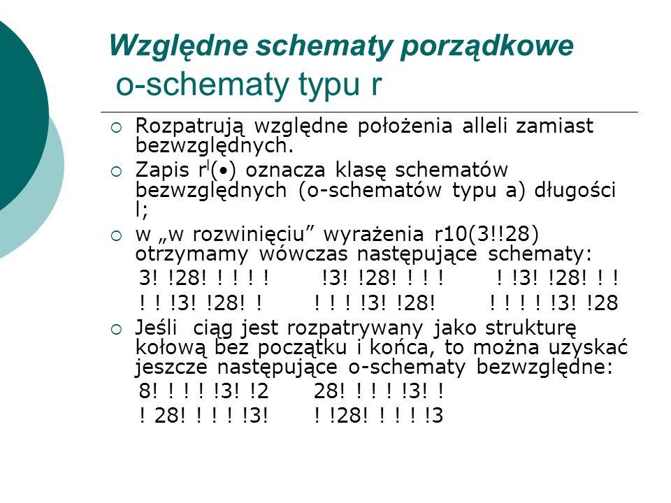 Względne schematy porządkowe o-schematy typu r Rozpatrują względne położenia alleli zamiast bezwzględnych. Zapis r l () oznacza klasę schematów bezwzg