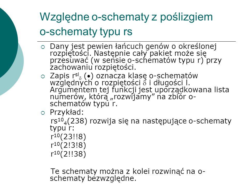 Względne o-schematy z poślizgiem o-schematy typu rs Dany jest pewien łańcuch genów o określonej rozpiętości. Następnie cały pakiet może się przesuwać