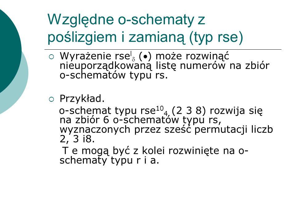 Względne o-schematy z poślizgiem i zamianą (typ rse) Wyrażenie rse l () może rozwinąć nieuporządkowaną listę numerów na zbiór o-schematów typu rs. Prz