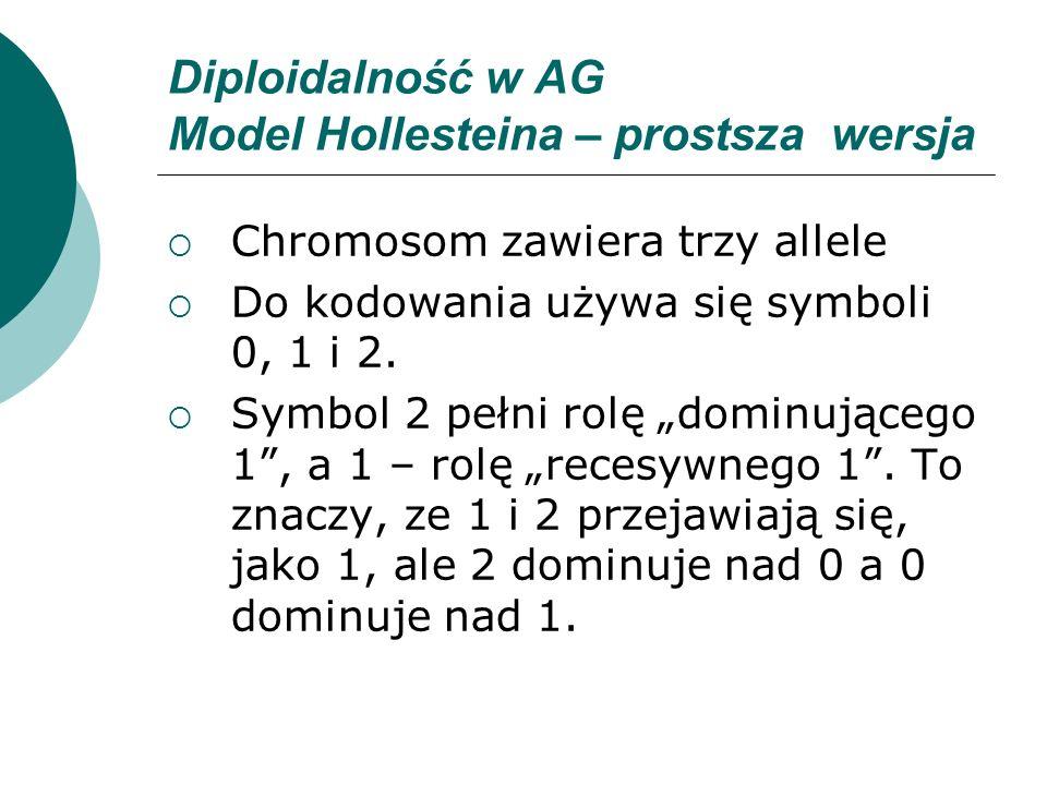 Diploidalność w AG Model Hollesteina – prostsza wersja Chromosom zawiera trzy allele Do kodowania używa się symboli 0, 1 i 2. Symbol 2 pełni rolę domi