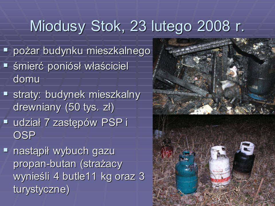 Miodusy Stok, 23 lutego 2008 r. pożar budynku mieszkalnego pożar budynku mieszkalnego śmierć poniósł właściciel domu śmierć poniósł właściciel domu st