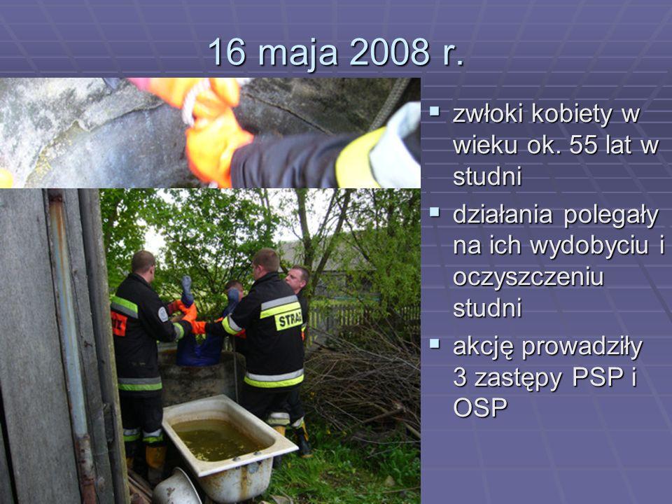 16 maja 2008 r. zwłoki kobiety w wieku ok. 55 lat w studni zwłoki kobiety w wieku ok. 55 lat w studni działania polegały na ich wydobyciu i oczyszczen