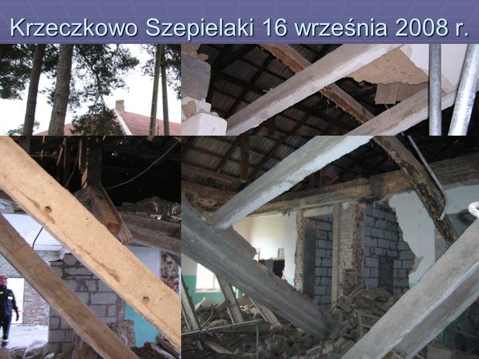 Krzeczkowo Szepielaki 16 września 2008 r. podczas prowadzenia prac remontowych w budynku dawnej szkoły podstawowej zawalił się strop przysypując pracu