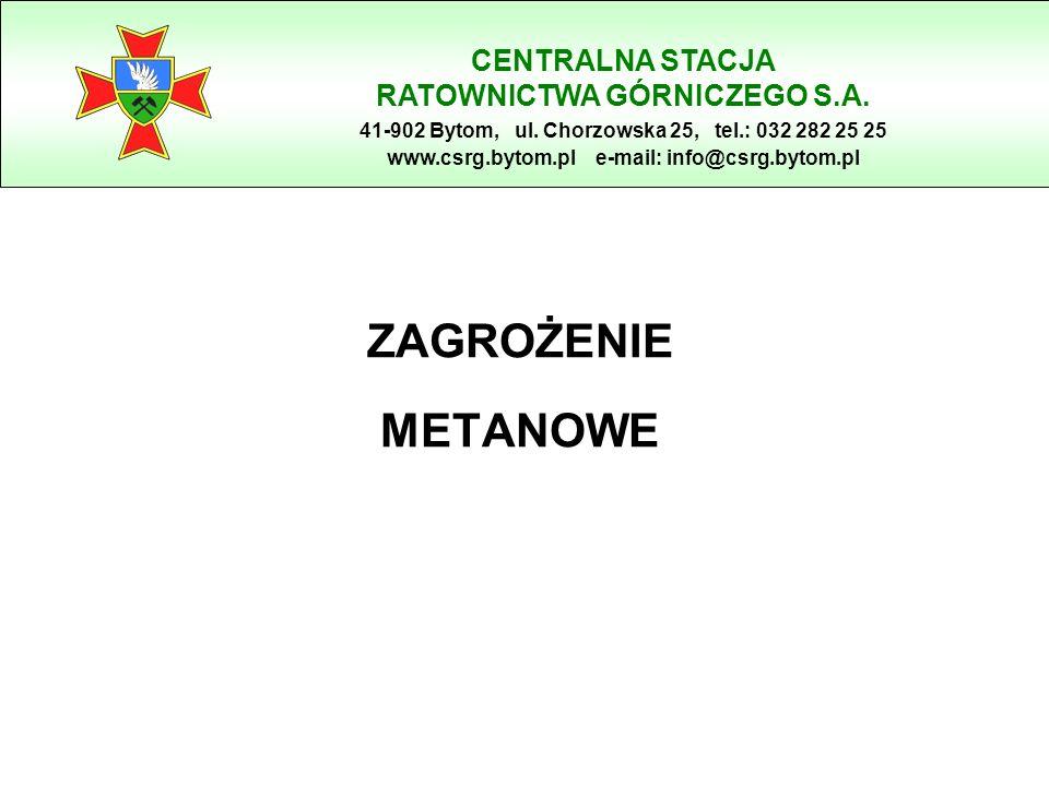 ZAGROŻENIE METANOWE CENTRALNA STACJA RATOWNICTWA GÓRNICZEGO S.A. 41-902 Bytom, ul. Chorzowska 25, tel.: 032 282 25 25 www.csrg.bytom.pl e-mail: info@c