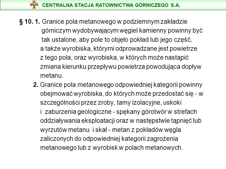 § 10. 1. Granice pola metanowego w podziemnym zakładzie górniczym wydobywającym węgiel kamienny powinny być tak ustalone, aby pole to objęło pokład lu