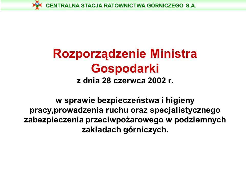 Rozporządzenie Ministra Gospodarki z dnia 28 czerwca 2002 r. w sprawie bezpieczeństwa i higieny pracy,prowadzenia ruchu oraz specjalistycznego zabezpi