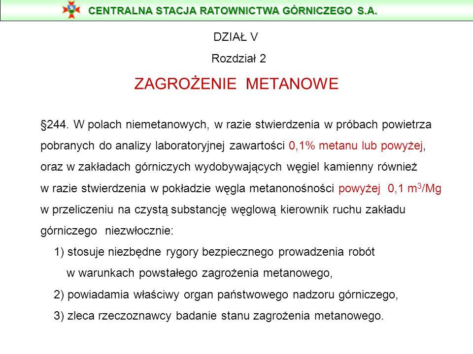 DZIAŁ V Rozdział 2 ZAGROŻENIE METANOWE §244. W polach niemetanowych, w razie stwierdzenia w próbach powietrza pobranych do analizy laboratoryjnej zawa