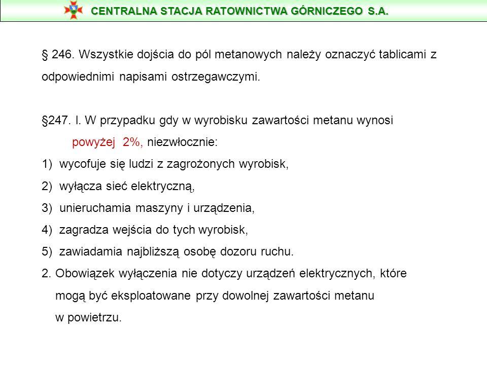 § 246. Wszystkie dojścia do pól metanowych należy oznaczyć tablicami z odpowiednimi napisami ostrzegawczymi. §247. l. W przypadku gdy w wyrobisku zawa