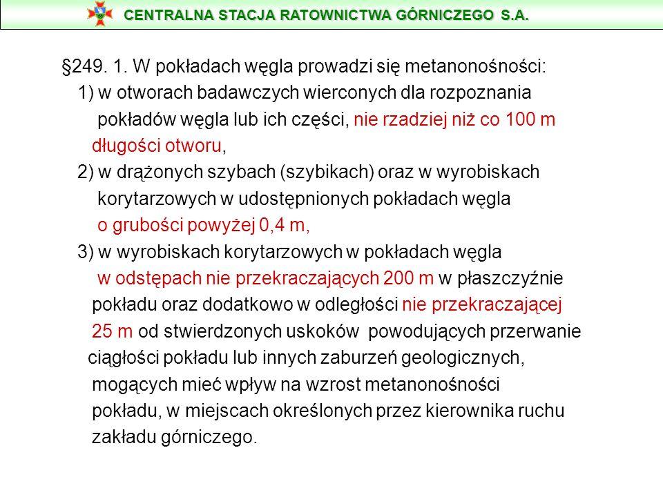 §249. 1. W pokładach węgla prowadzi się metanonośności: 1) w otworach badawczych wierconych dla rozpoznania pokładów węgla lub ich części, nie rzadzie